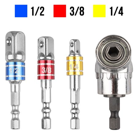 EEEkit Extension Bar Hex Shank Socket Adapter Drill Bit, 3Pcs Impact Socket Square Nut Driver Bit + 1Pcs 1/4 Hex 105 Degree Right Angle Drill Attachment 10mm Right Angle Drill