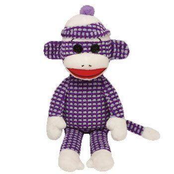 Ty Beanie Baby Socks The Sock Monkey Purple Blue Quilted Plush Stuffed Animal