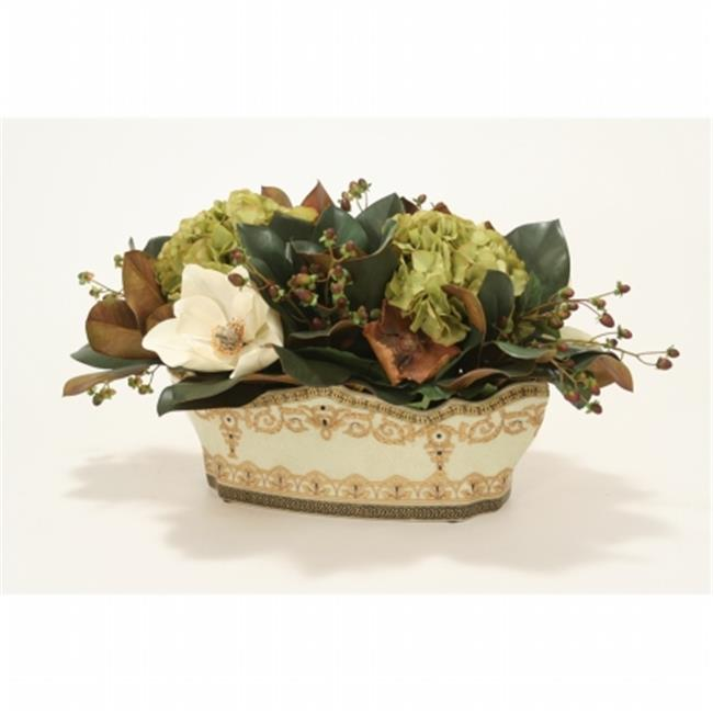 Distinctive Designs International 9859 Hypericum, Hydrangea & Magnolia in Oval Porcelain Planter