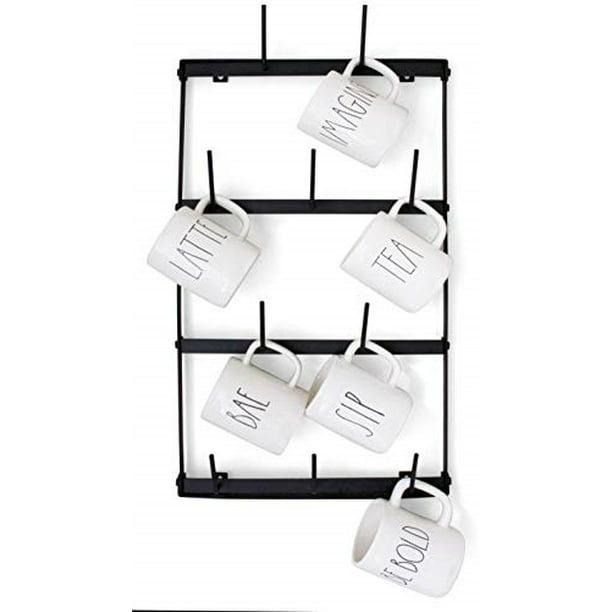claimed corner mini wall mounted mug rack 4 row metal storage display organizer for coffee mugs tea cups mason jars and more