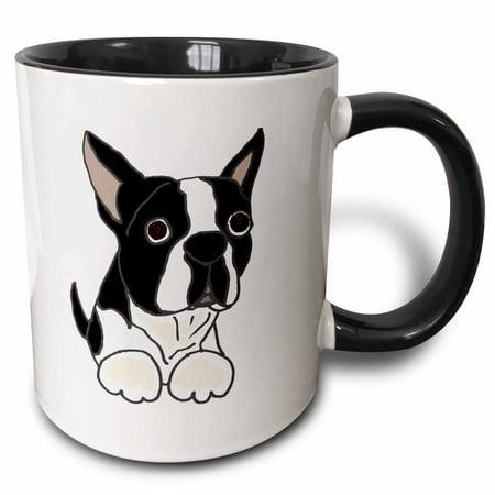 Bedlington Terrier Mug (3dRose Cute Boston Terrier Puppy Dog Original - Two Tone Black Mug, 11-ounce )
