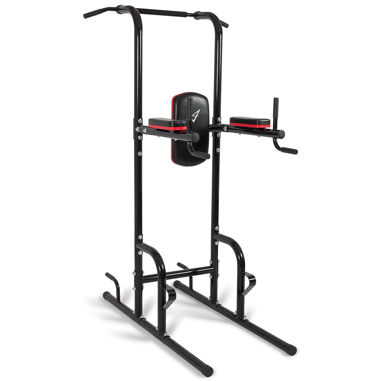 Akonza Power Tower, Multi Station Workout Pull-Up, Push-Up, Dip Station, Knee Raise with Cushion Pad, Black