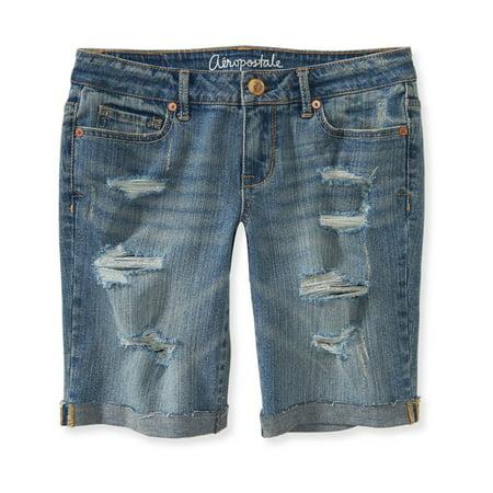 Aeropostale Juniors Destroyed Casual Bermuda Shorts