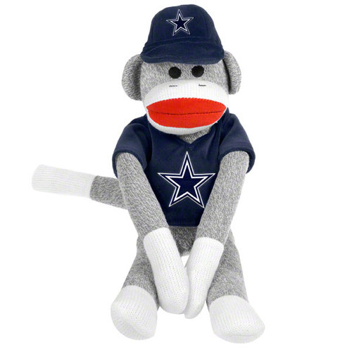 Forever Collectibles FOR-M10NFSOCK13DC Dallas Cowboys NFL Plush Uniform Sock Monkey