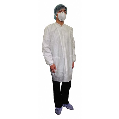 Static Lab Coats Sms Material (White Basic SMS Disposable Lab Coat, Size:)