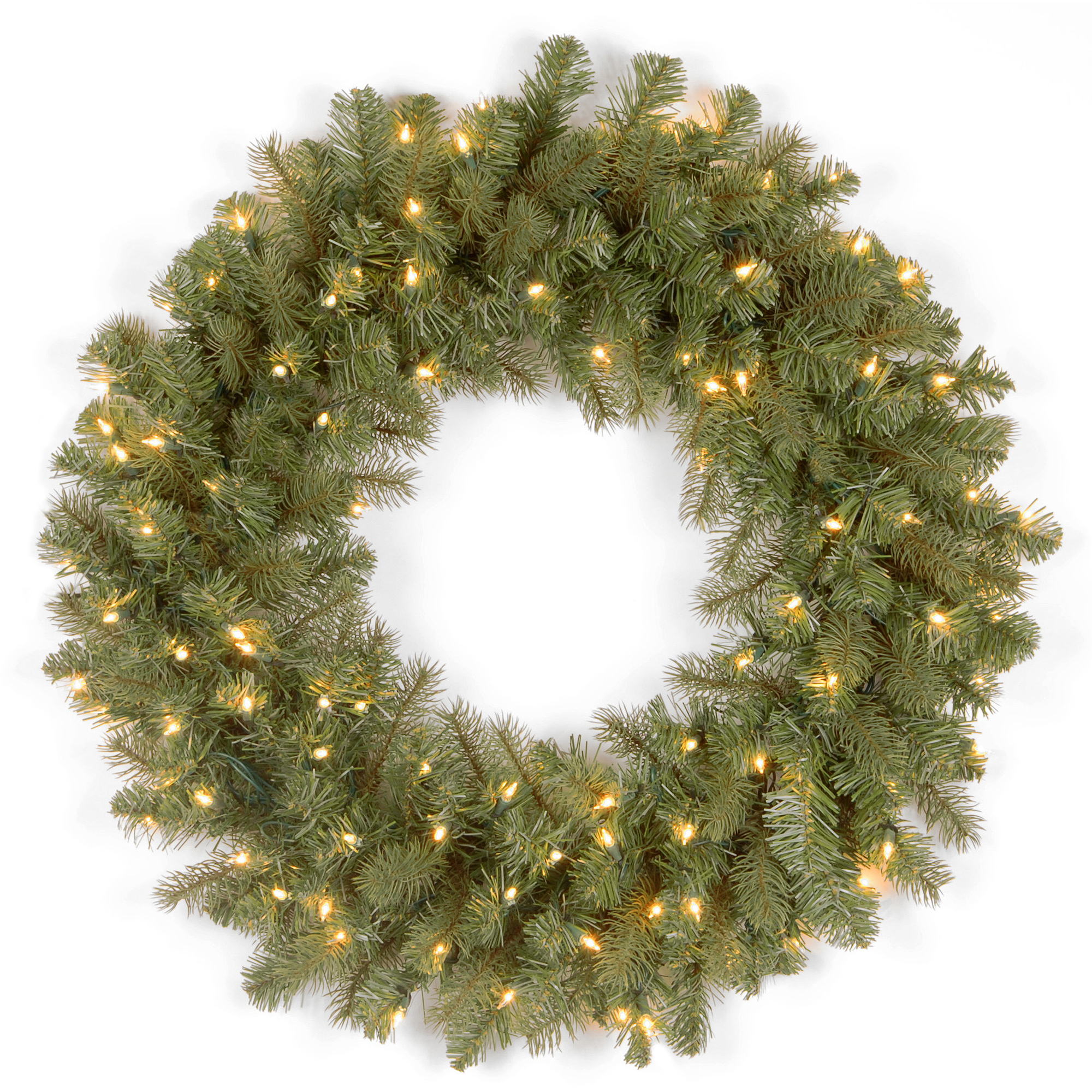 National Tree Co. Downswept Douglas Feel Real  Fir Wreath with 50 Clear Lights