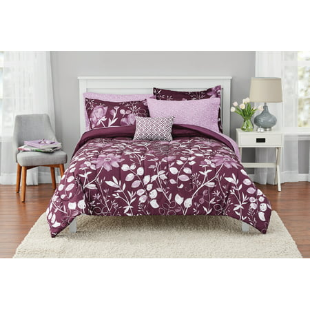 Mainstays Kamala Bed in a Bag Coordinated Bedding, Purple, Queen ()
