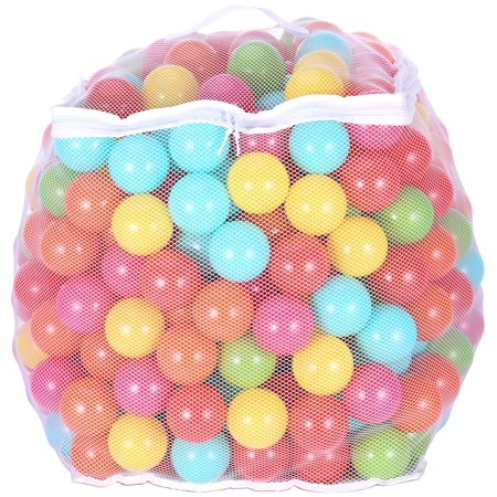 BalanceFrom Phthalate Free BPA Free Non-Toxic Crush Proof Play balls Pit Balls- 6 Bright Colors in Reusable and Durable Storage Mesh Bag with Zipper](Plastic Balls In Bulk)