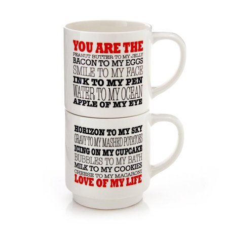 "Our Name is Mud  Lorrie Veasey Love of My Life Stacking Mugset, 8"", Multicolor, Fast shipping,Brand Weigand Combat"