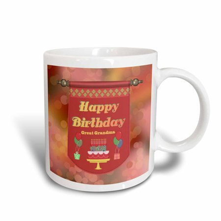 3dRose Happy Birthday Great Grandma Banner, Cake with Gifts and Balloons, Ceramic Mug, 15-ounce
