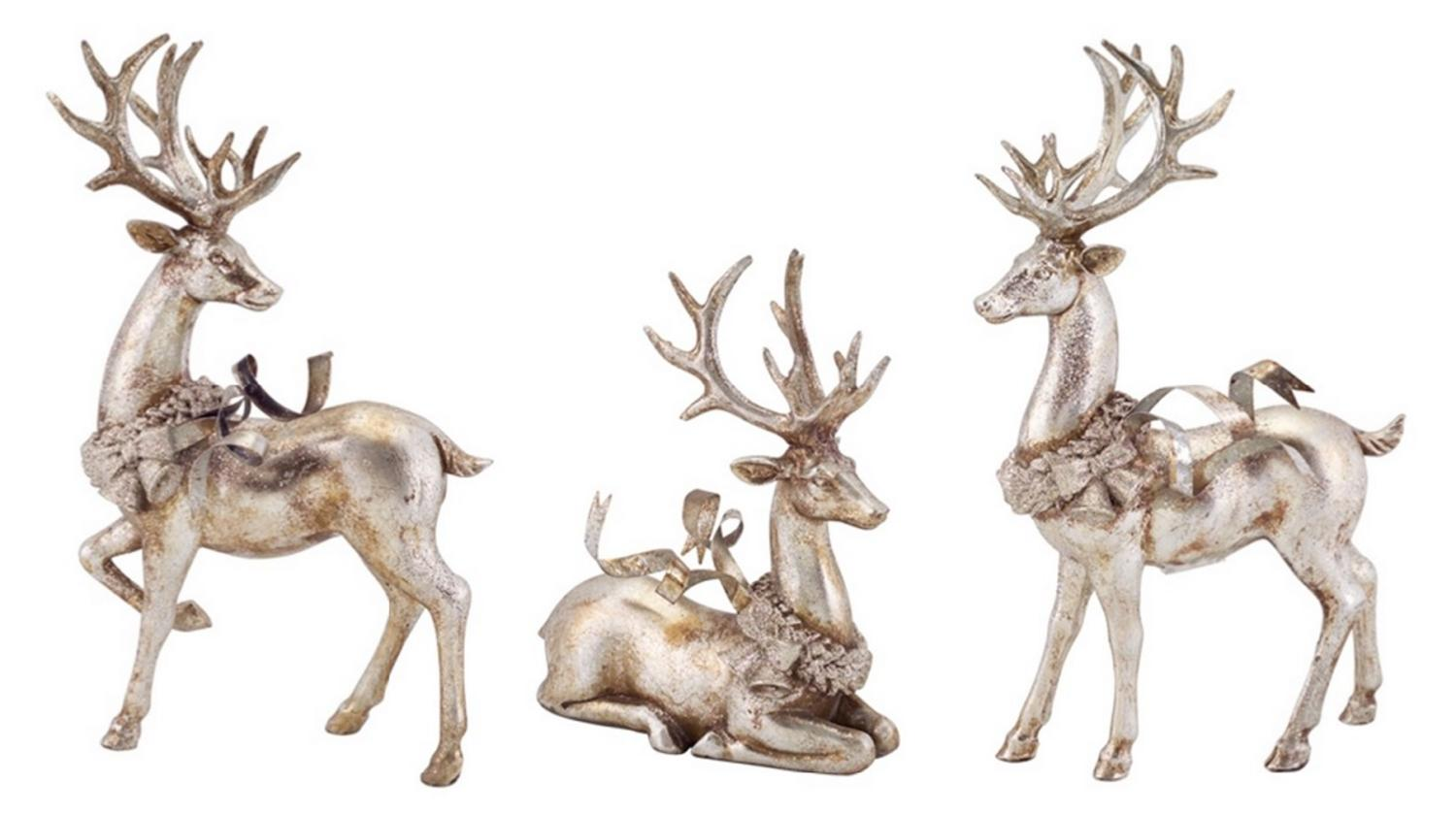 set of 3 distressed silver reindeer with wreath table top christmas decorations 9 13 walmartcom