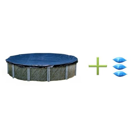 Swimline 24 Foot Round Swimming Pool Winter Cover and 3 4x4 Air Closing Pillows Armorkote Winter Pool Cover
