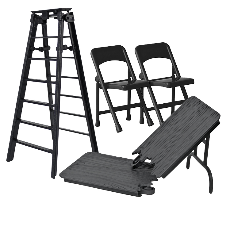 ULTIMATE Ladder, Table & Chairs Black Playset for Wrestling Action Figures by