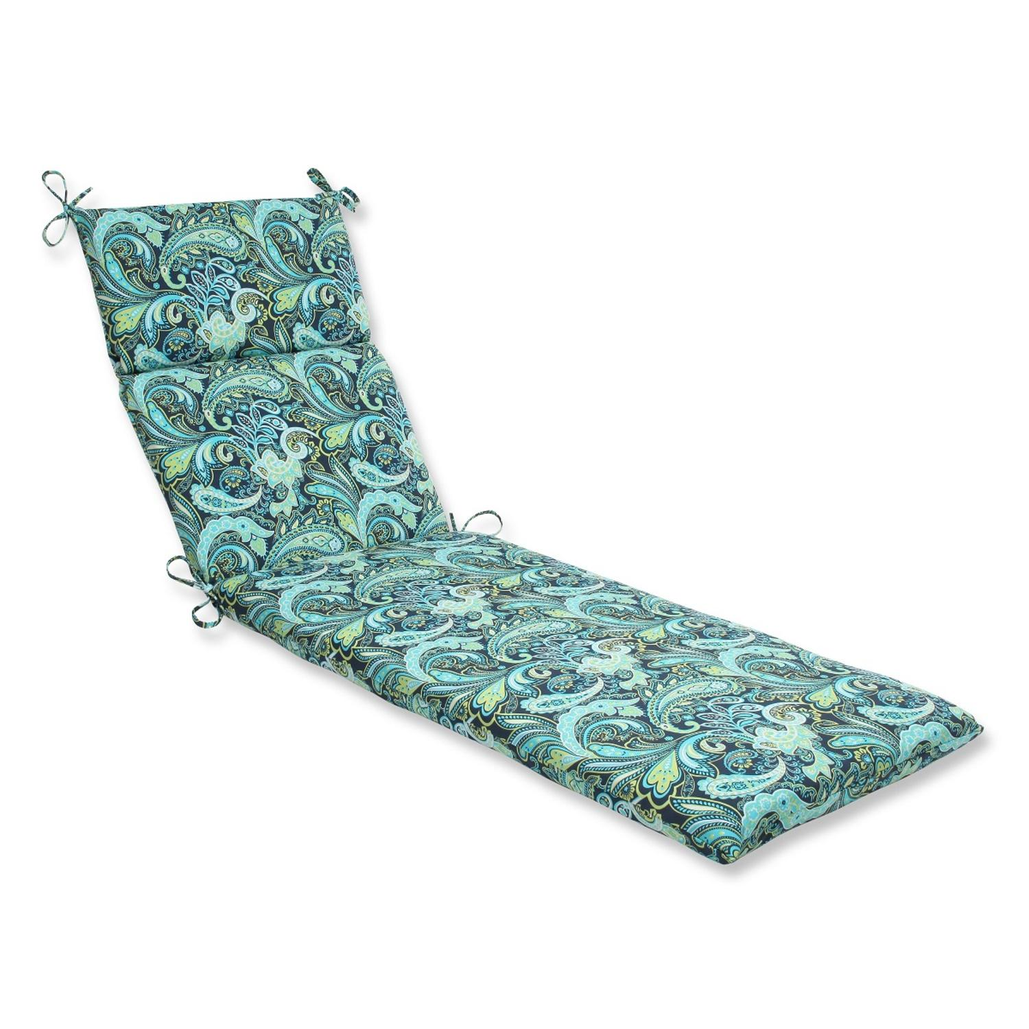 "72.5"" Sogno Paisley Blue, Green and White Outdoor Patio Chaise Lounge Cushion"