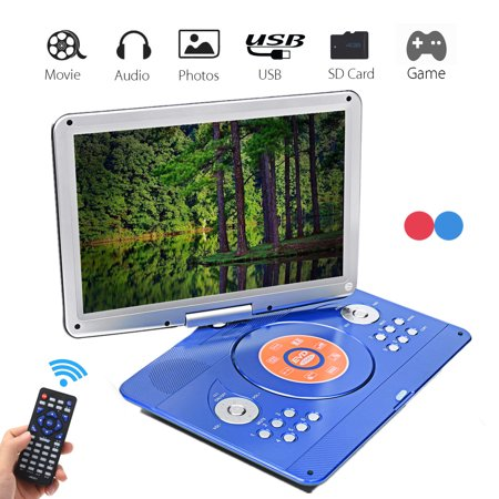 16 inch Rotating Screen Portable Rechargeable DVD & Media Player with Remote Control, SD Card Slot and USB Port, Dual Speaker (16 Inch Portable Dvd Player)