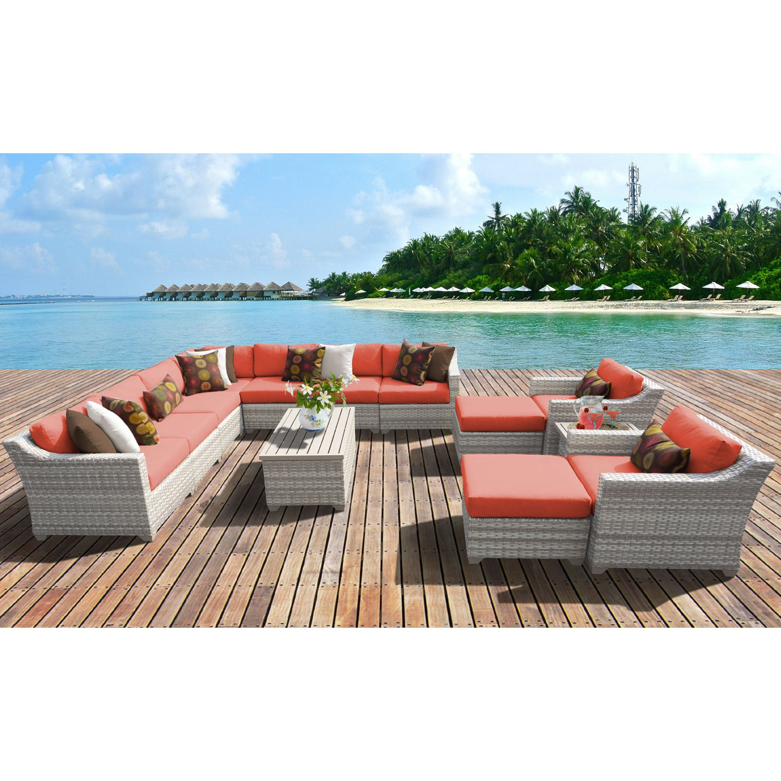 TK Classics Fairmont All-Weather Wicker 13 Piece Patio Conversation Set