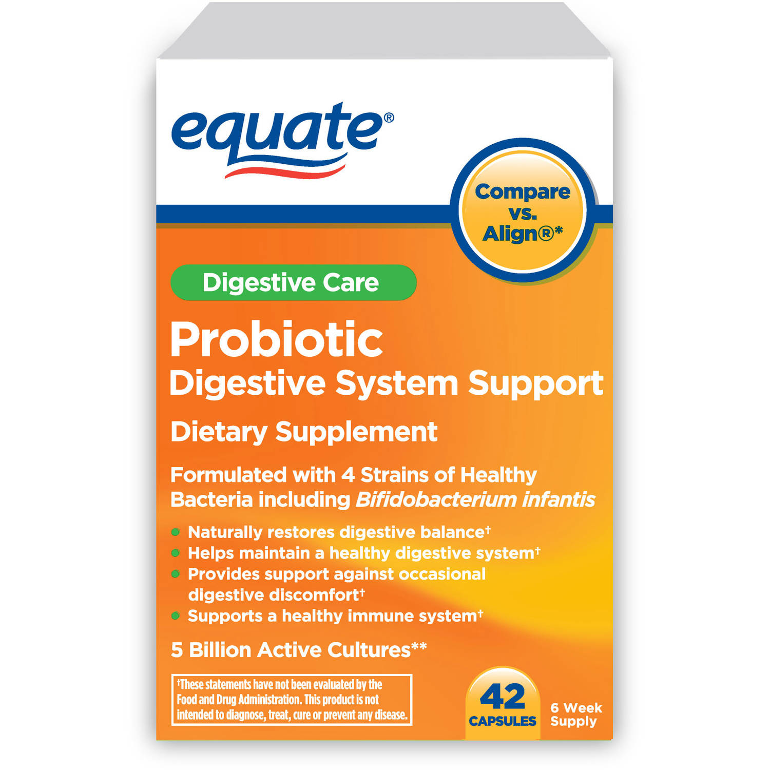 Equate Probiotic Digestive System Support Capsules, 42 count
