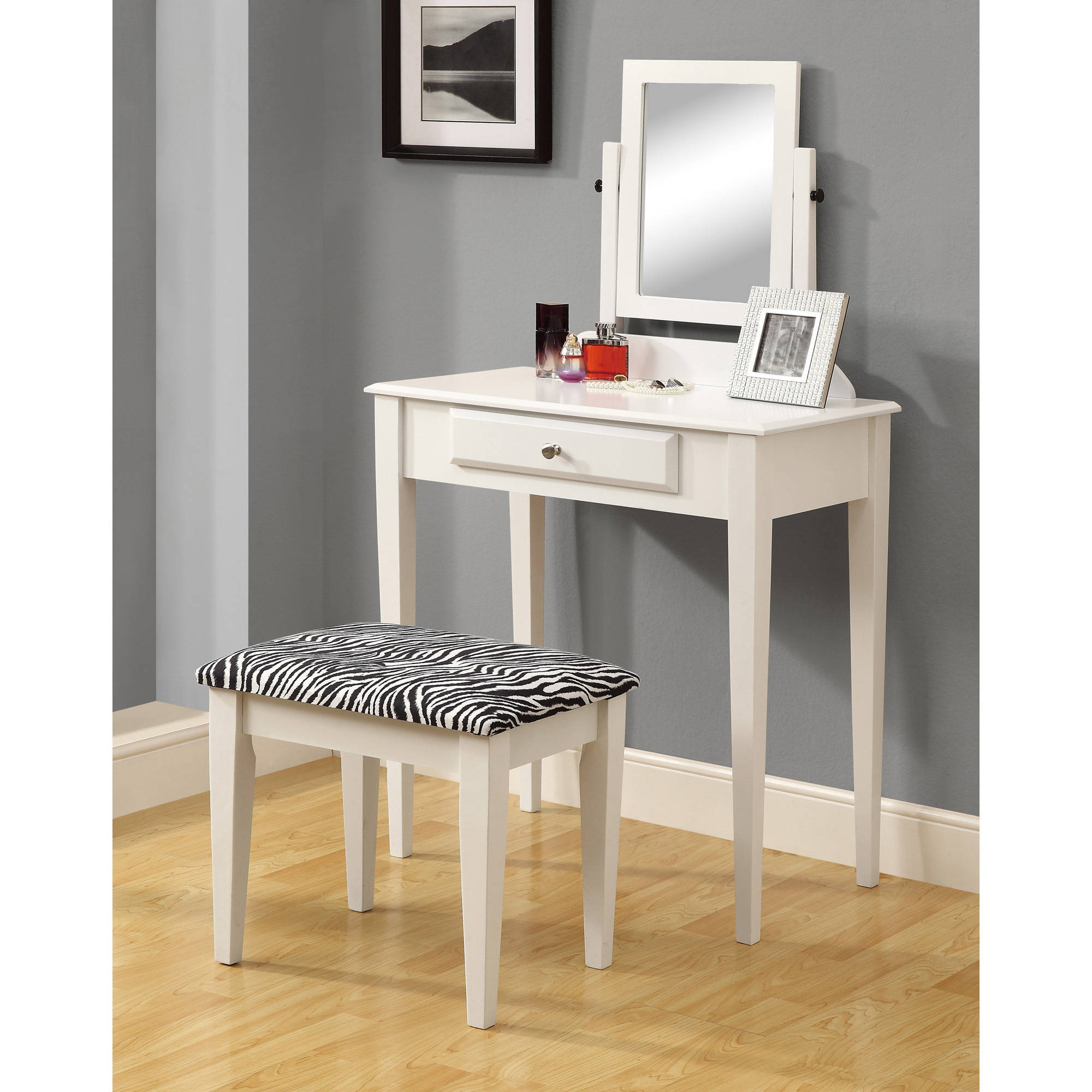 Monarch Vanity Set 2Pcs Set / White With A Zebra Fabric Stool .