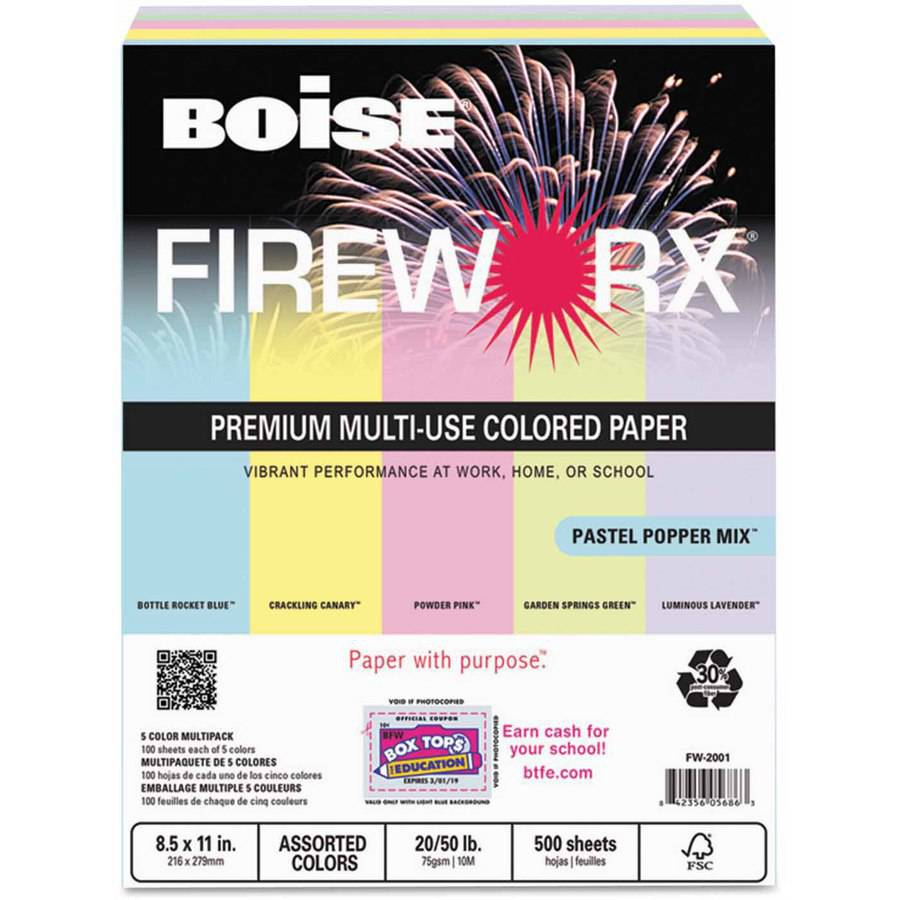 "Boise FIREWORX Colored Paper, 20-Pound, 8-1/2"" x 11"", Pastel Popper Mix, 500 Sheets/Ream"