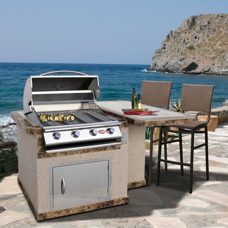 Cal Flame 6 ft. Stucco Grill Island With Tile Top And 4 Burner Gas Grill