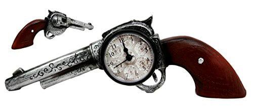 Click here to buy Atlantic Collectibles Cowboy Wild Western Six Shooter Revolver Gun Decorative Table Clock... by Atlantic Collectibles.