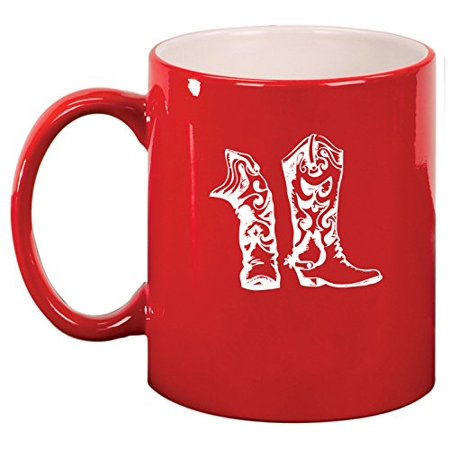 Ceramic Coffee Tea Mug Cup Cowboy Cowgirl Boots - Red Cowgirl