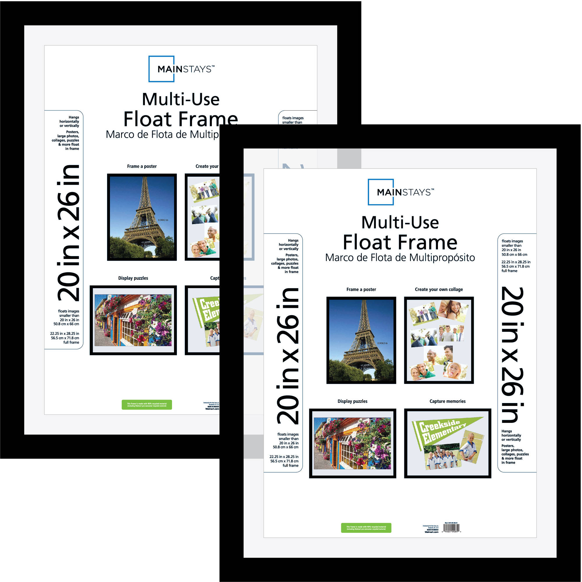 Mainstays 20x26 Multi-Use Float Poster and Picture Frame, Black, Set of 2