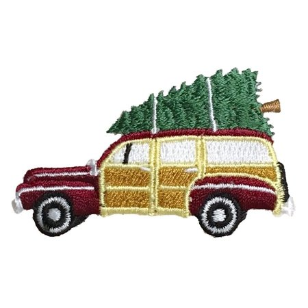 Christmas Woodie/Woody - Sedan with Tree - Iron On Applique/Embroidered Patch ()