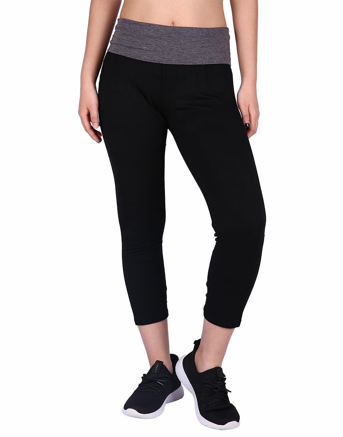 HDE Women's Yoga Capri Pants Color Block Fold Over Waist Workout Leggings (Black w/Charcoal, Small)