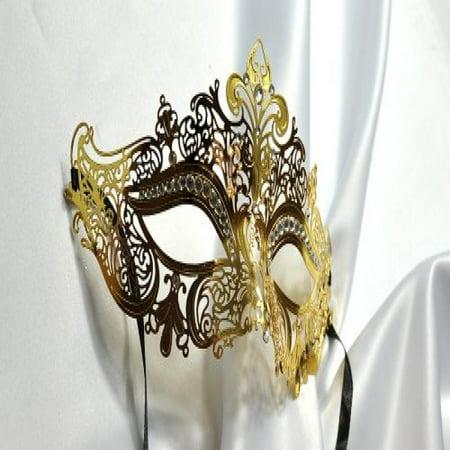 Royal Laser Cut Venetian Crown Metal Mask Masquerade W Rhinestones, Gold