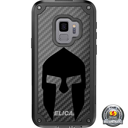 LIMITED EDITION Pelican Shield Kevlar Case for Samsung Galaxy S9 Designs by Ego Tactical with up to 24-foot drop protection: Black Spartan](Oath Keeper)