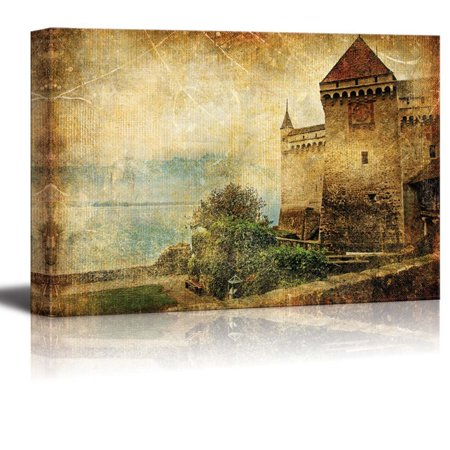wall26 Canvas Prints Wall Art - Swiss Castle - Artwork in Painting Style | Modern Wall Decor/Home Decoration Stretched Gallery Canvas Wrap Giclee Print. Ready to Hang - 32