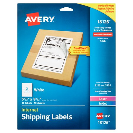 Avery 18126 White Laser Inkjet Internet Shipping Labels Sheets  10 Count
