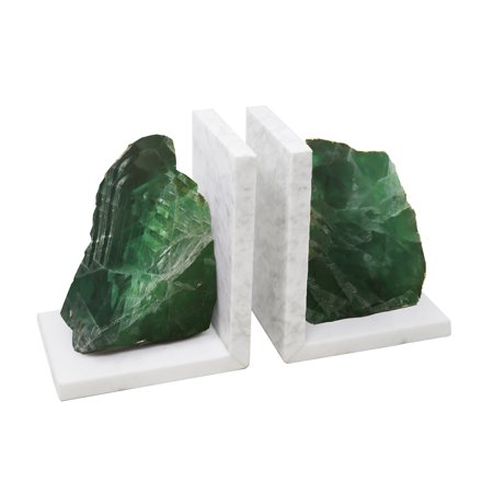 (Appealing Set Of 2 Green Marble Bookends With Agate)