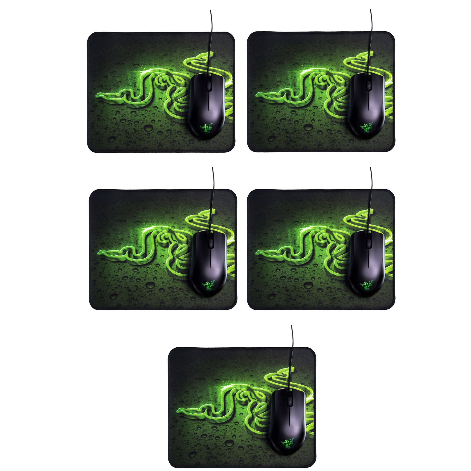 Razer Abyssus 2000 DPI Wired Mouse and Goliathus High Texture Mouse Pad (5 Pack)