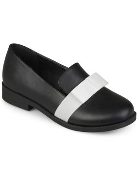 Womens Bow Faux Leather Loafer Flats