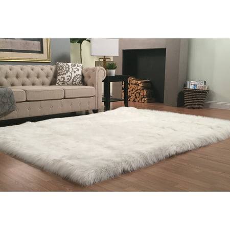 Super Soft Faux Sheepskin Silky Shag Rug Rectangular, White 4'x6' ()