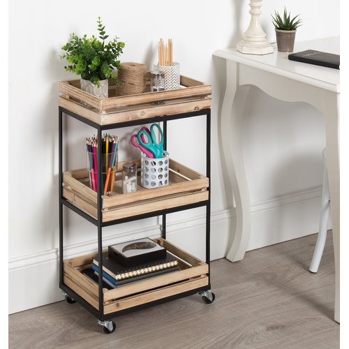 Kate and Laurel Usman 3 Tiered Storage Cart with Wheels