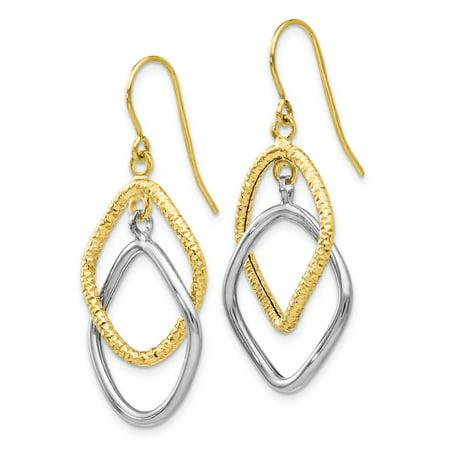 Leslie's 10K Two-tone Shepherd Hook Dangle Earrings TB44 - image 1 de 2