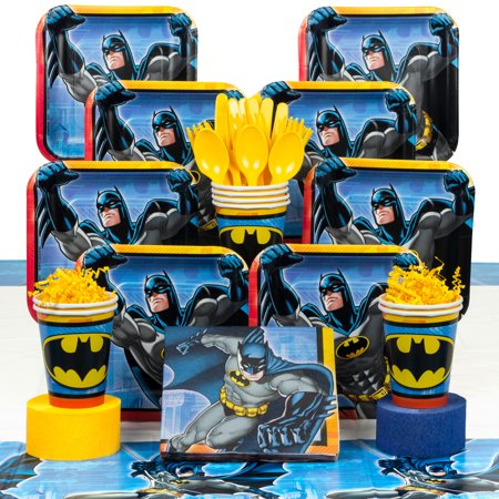 Batman Birthday Party Deluxe Tableware Kit Serves 8 - Batman Party Plates