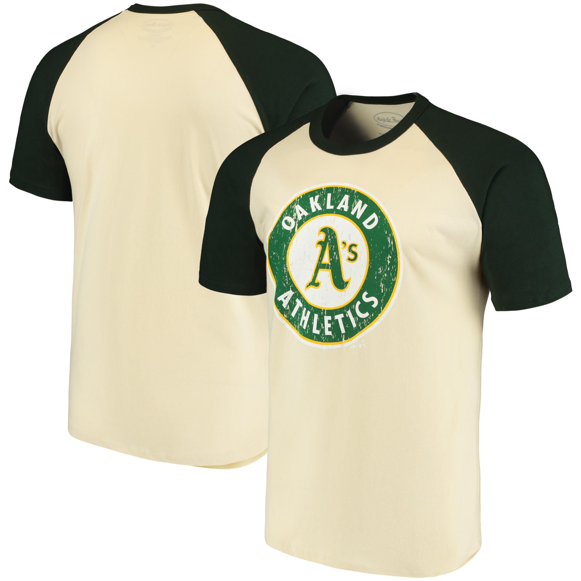 Oakland Athletics Majestic Threads Softhand Raglan T-Shirt - Cream/Green