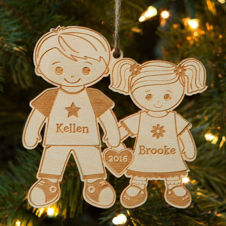 Big Brother and Little Sister Personalized Wood Christmas Ornament ()