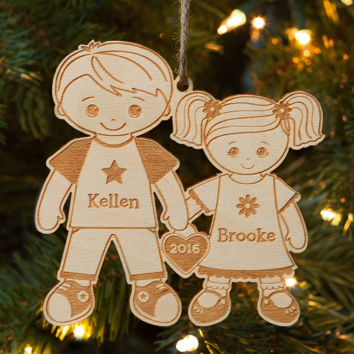 Big Brother and Little Sister Personalized Wood Christmas Ornament