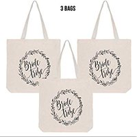 Bride Tribe Bridal Shower Canvas Tote Bag, Reusable Shopping Bags for Wedding Favors, Bachelorette Party Gifts, and Bridal Shower Accessories, 100% Cotton (3 Bags)