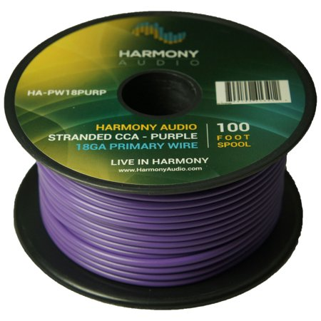 Harmony Audio HA-PW18PURP Primary Single Conductor 18 Gauge Purple Power or Ground Wire Roll 100 Feet Cable for Car Audio / Trailer / Model Train / Remote