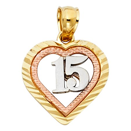 Heart Disc Diamond Cut High Polish 15th Birthday Charm Quince Anos 14k Tri Colored Solid Gold 15mm Pendant Necklace Fine Gift Ideal Diamond Cut Baseball Charm
