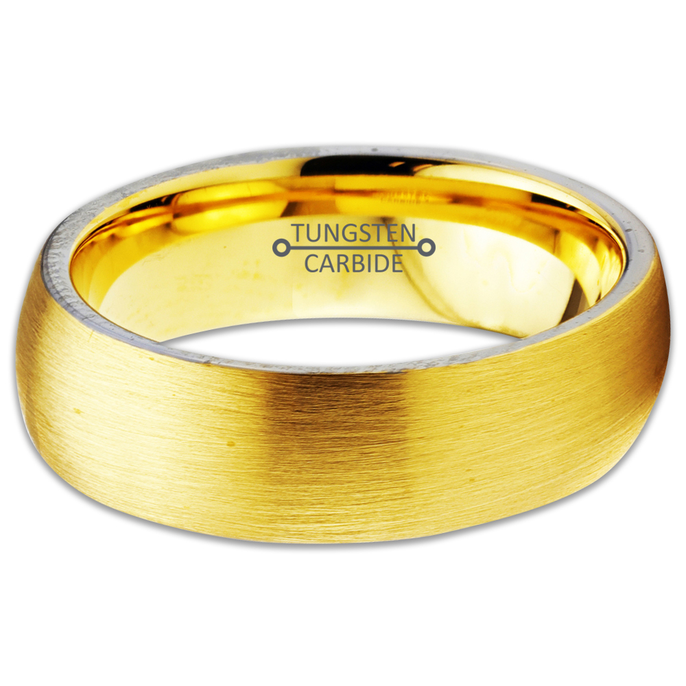 Tungsten Wedding Band Ring 6mm for Men Women Comfort Fit 18K Yellow Gold Plated Dome Round Brushed Polished Lifetime Guarantee - image 2 de 5