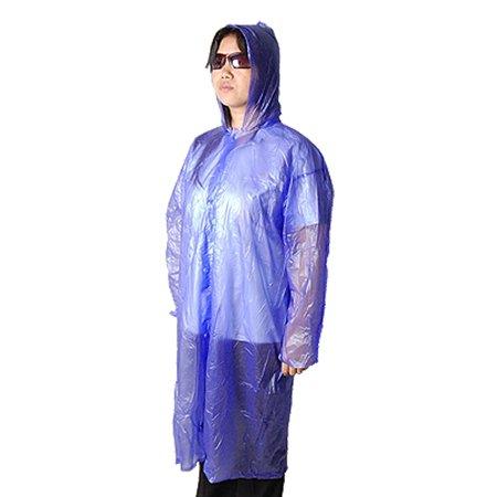 Portable Purple Plastic Hooded Sleeved Poncho Rain Gear (Purple Poncho)