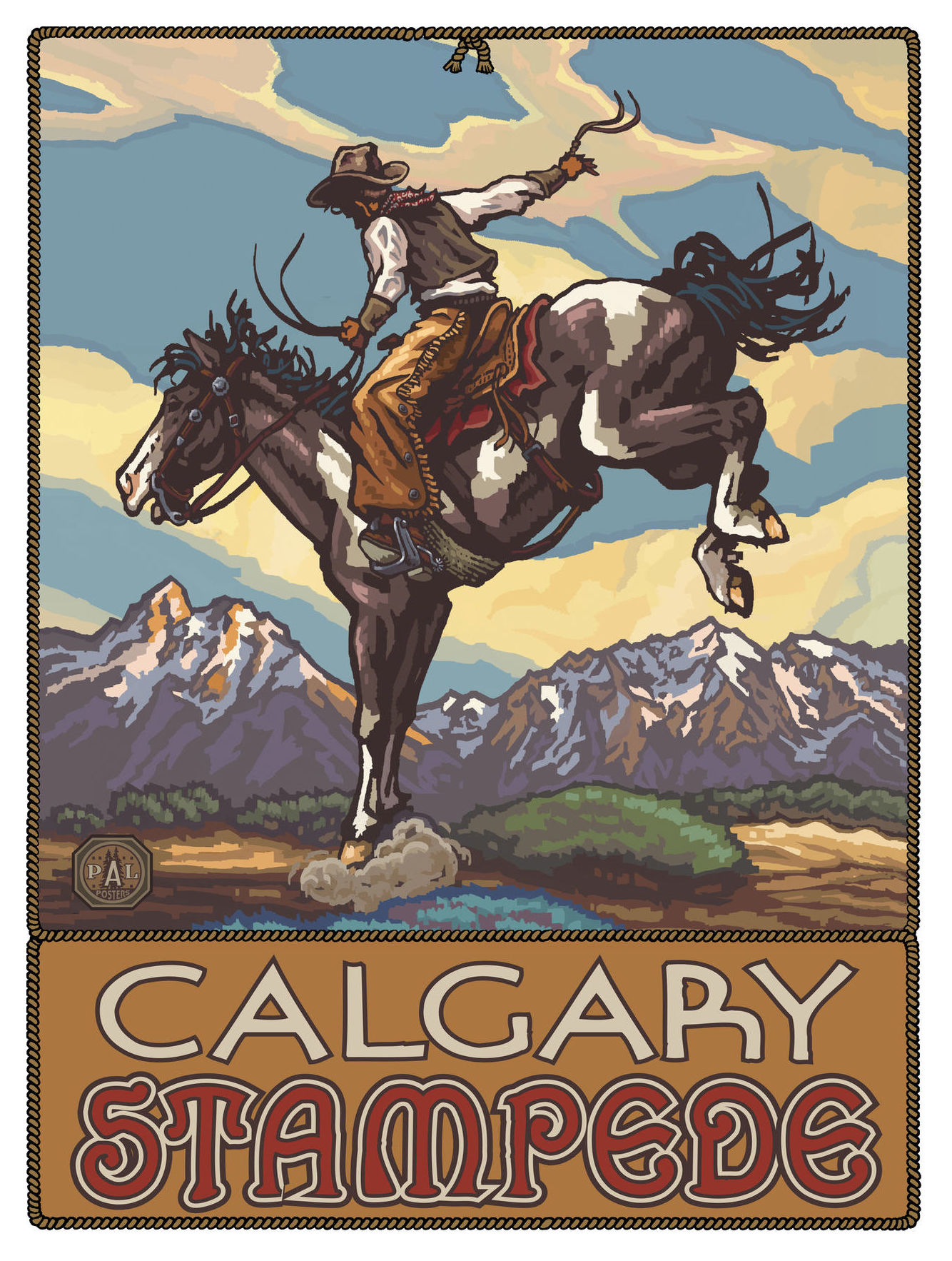 Calgary Stampede Bucking Horse Cowboy Travel Art Print