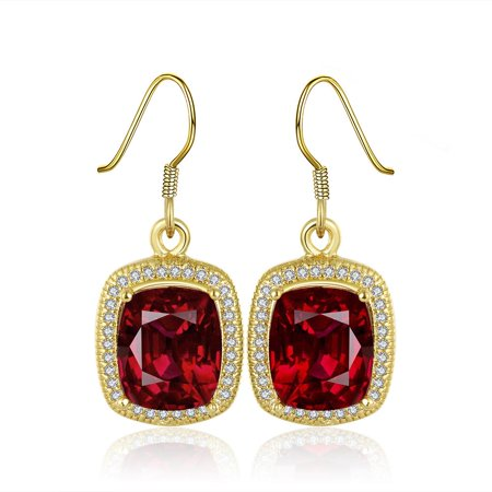 Aventura Jewellery 18K Gold  Drop Down Ruby Gem Earrings Made with Cubic Zircon ()